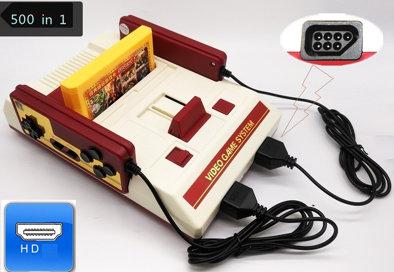 Console para Nes Cartucho com Dois 500 em 1 Retro Game Bits Jogos Suporte 60 Pinos Gamepads Cartucho 121 Built-in hd tv 8
