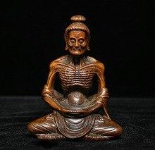 wedding decoration Chinese Buddhism Boxwood Wood Monk Arhat Dharma Buddha sit in meditation Statue