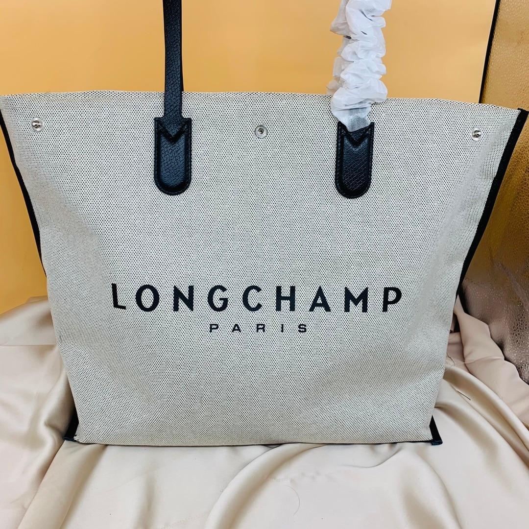 Longchamp الفاخرة مصمم العلامة التجارية المرأة حقيبة و الصيف المرأة حقيبة قماش قنب حقيبة يد مع شعار سعة كبيرة حمل حقيبة الاتجاه الجديد