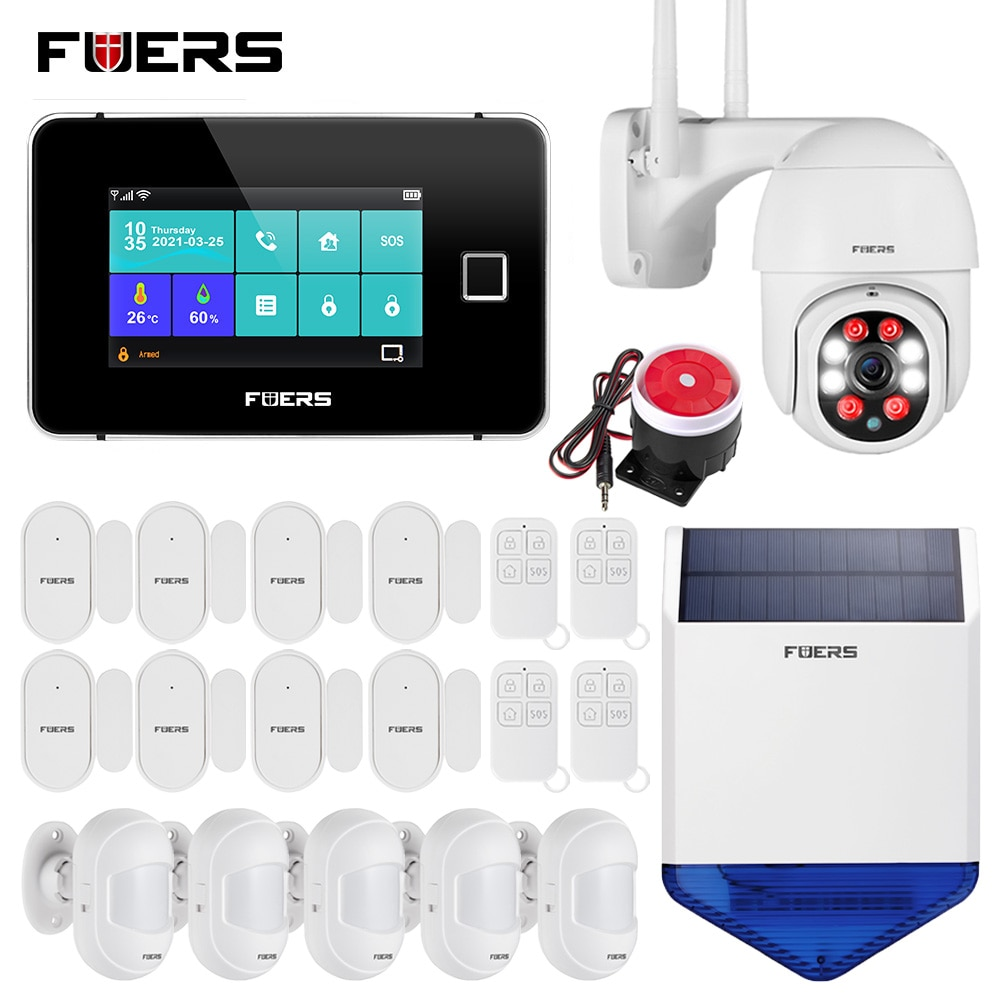FUERS Smart Home Security Alarm System Tuya WiFi GSM Touch Screen Temperature Humidity Display 433MHz Fingerprint Arm Disarm Kit