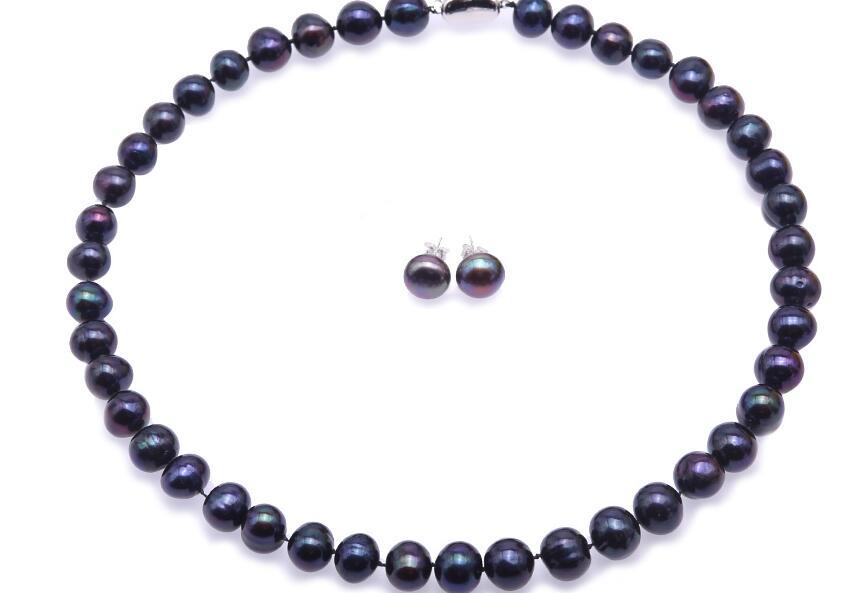 Conjunto de Jóias mulheres 10mm cores preto verdadeira pérola colar brincos do parafuso prisioneiro 925 prata fecho AAA cultivadas de água doce pérola
