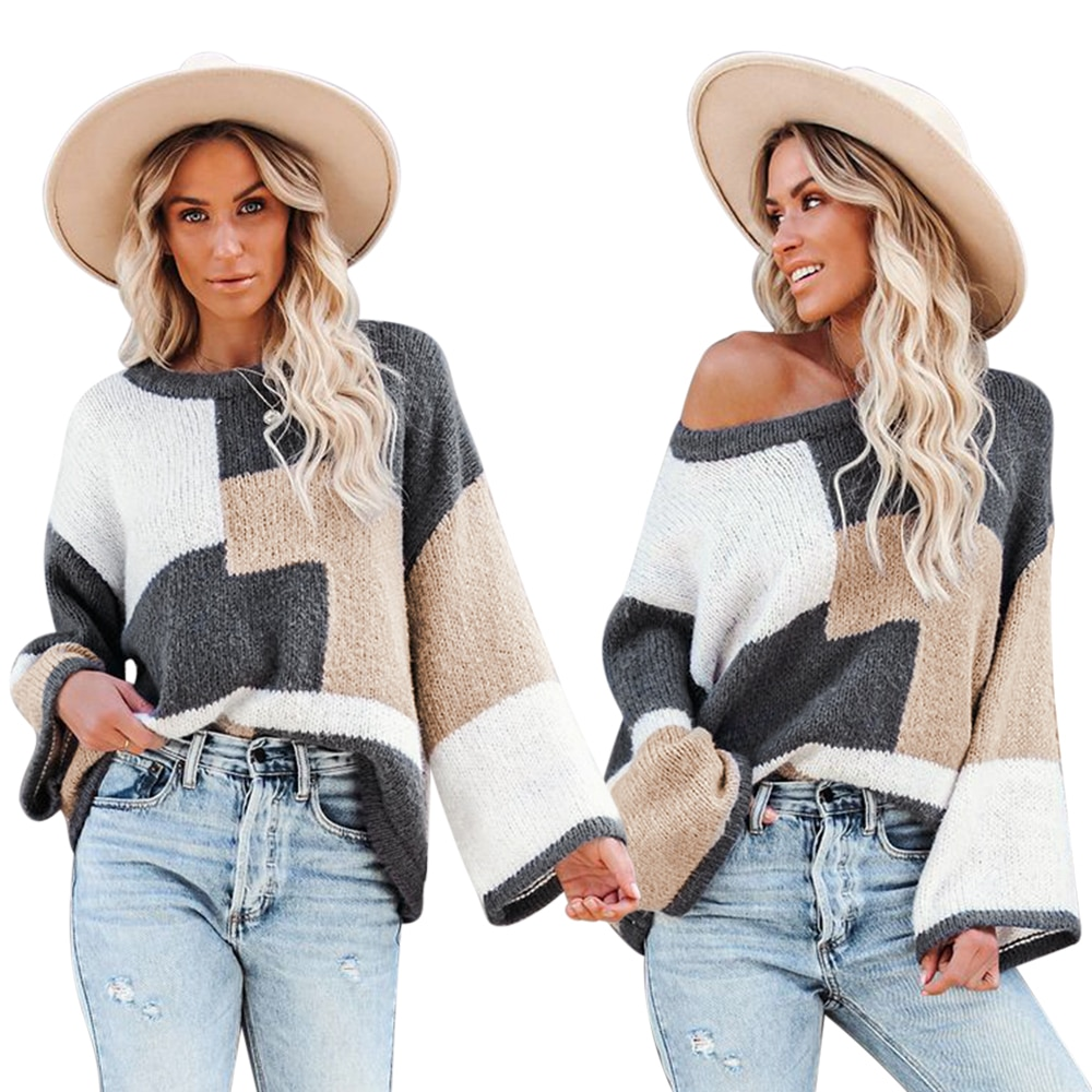 Women's Round Neck Stitching Color Block Sweater Fashion Loose Casual Pullover Long Sleeve Knitted Autumn Sweater Top brief round collar color block knitted women pullover