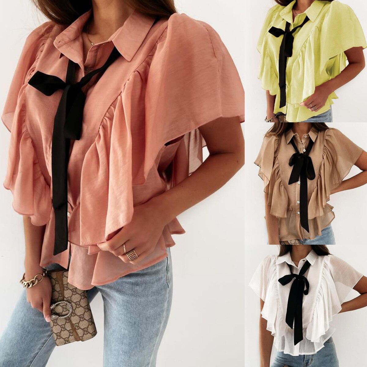 flare sleeve bow tie back blouse Summer New 2021 Women Fashion Ruffles Short Sleeve Lapel Chiffon Shirts Ladies Casual Bow-Tie Blouse Shirts Tops Streetwear