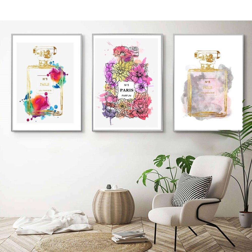 Nórdico abstracto COCO Multicolor botella de Perfume lienzo pintura cuadros de pared modernos para sala de estar quadro cuadros