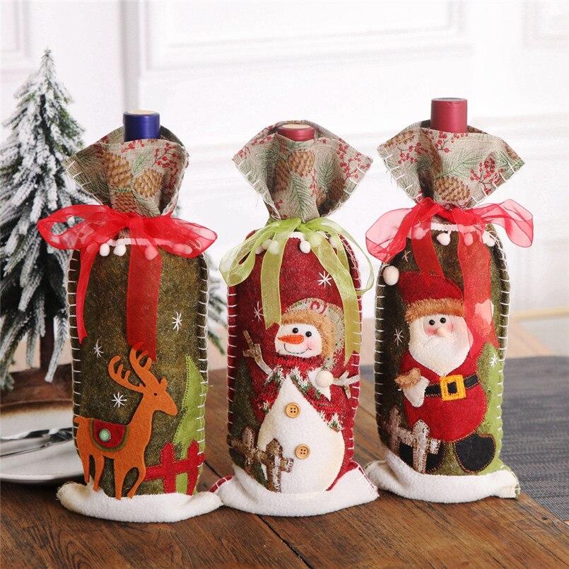 Bolsa de regalo para botella de champán, bolsa decorativa tridimensional para navidad,...