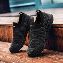 Plus Size Zomer Gebreide Scarpa Uomo Zomer Sneakers Sokken Mannen Sport Schoenen Man Running Man Sport Schoenen Voor Mannen Zwart jogging D-424