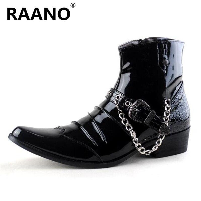 أحذية جلدية عالية الجودة بمقدمة مدببة للرجال ، أحذية ذات كعب متوسط ، مع سلسلة معدنية ، لسائقي الدراجات النارية