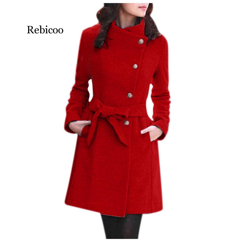 2019 nueva ropa de moda Streetwear Casual cinturón abrigo rompevientos mujer elegante de juventud, abrigo largo de lana