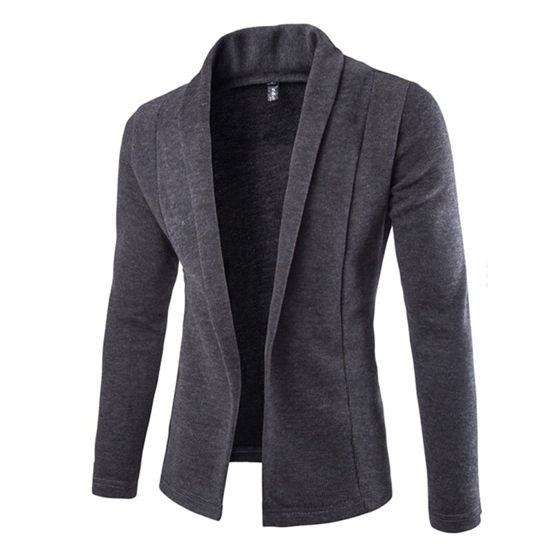 Mens Solid Blazer Cardigan Long Sleeve Casual Slim Fit Sweater Jacket Knit Coat SWD889