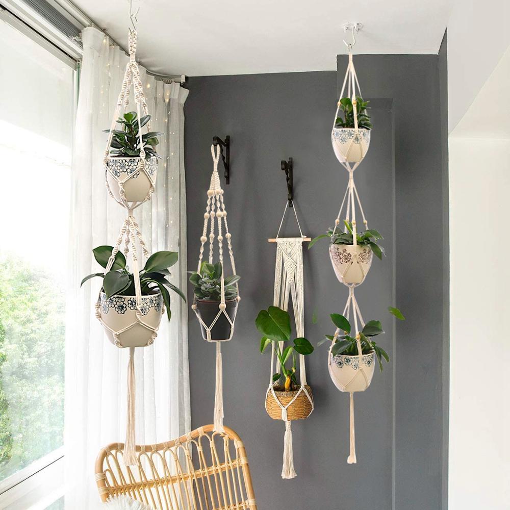 Panier en Jute à suspendre pour plantes en macramé, Vintage, corde en Jute, panier, suspension murale en coton et lin, nouveau filet de fleurs