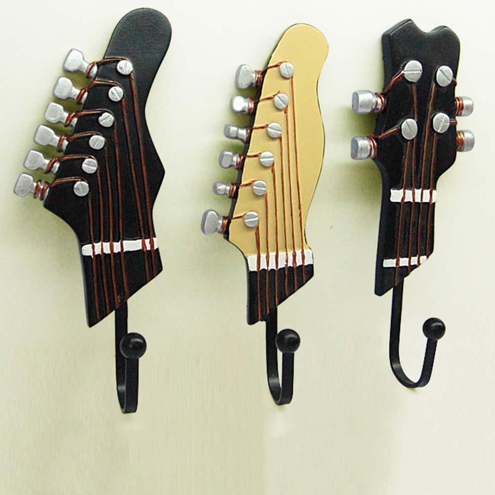 3 uds gancho de colgador de resina decorativo para guitarra gancho Anti-óxido colgador con tapón montado en la pared decorativo gancho de pared para abrigo toalla llaves y bolsos