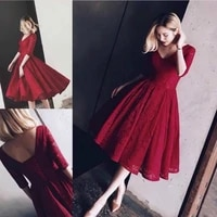 deep v neck lace short prom dresses half sleeve dark red saudi arabia formal evening prom gowns party dresses