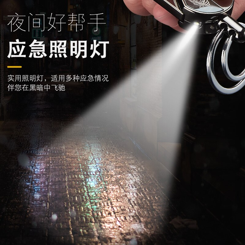 Outdoor Multifunction Charging Lighter Metal Windproof USB Keychain LED Heating Lighter Customizable Gadgets For Men Gift enlarge