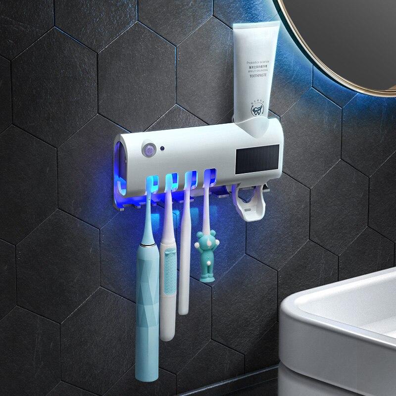 Nuevo esterilizador de cepillo de dientes con luz UV, esterilizador de pasta dental automático, dispensador de exprimidores, soporte para montaje en pared, esterilizador de cepillo de dientes ultravioleta