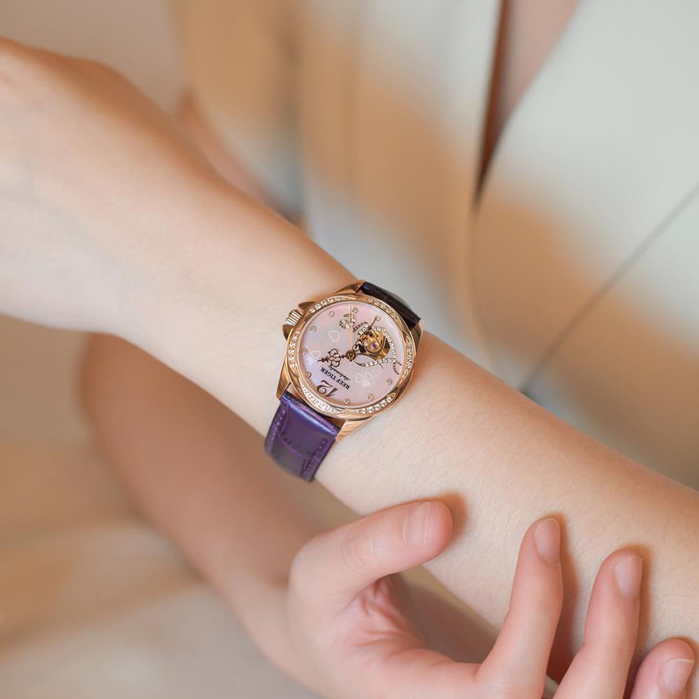Reef Tiger/RT Top Brand Luxury Gold Rose Flower Diamond Women Fashion Automatic Watch Leather Strap RGA1583 enlarge