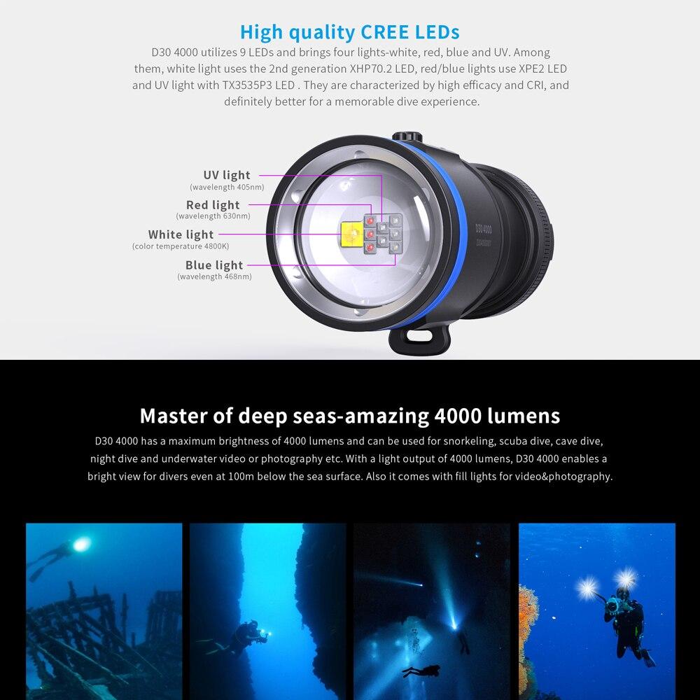 XTAR D30 4000 Diving Flashlight IP68 Waterproof Professional Diving Light High CRI 9 LEDS Super Bright Dive LED Flashlight UV enlarge