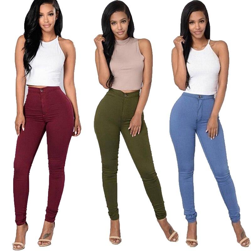Женские однотонные джинсы стрейч с высокой талией, размера плюс узкие эластичные повседневные узкие брюки-карандаш, модные леггинсы, черны...