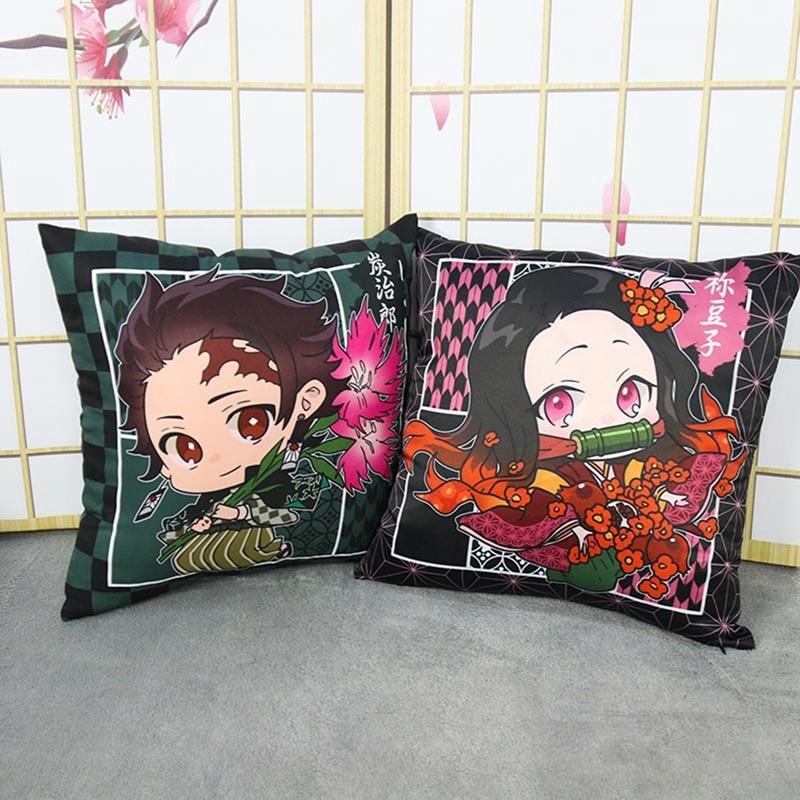 AliExpress - Japanese Demon Slayer Ghost Blade Anime Pillowcase Kamado Nezuko Kamado Tanjirou Zipper Pillow Cushion Cover Home Kawai Decor
