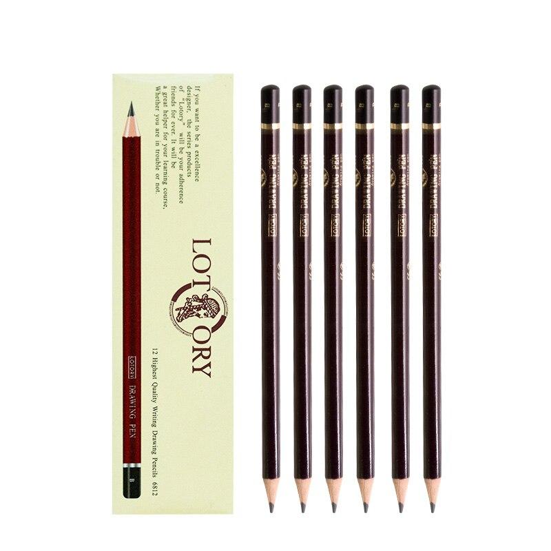 LOTORY 6812 12 piezas dibujo lápices de dibujo y dibujo a lápiz de arte suministros 2 H/HB/ b/2B/3B/4B/5B/6B/7B/8B/10B/12B/ 14B