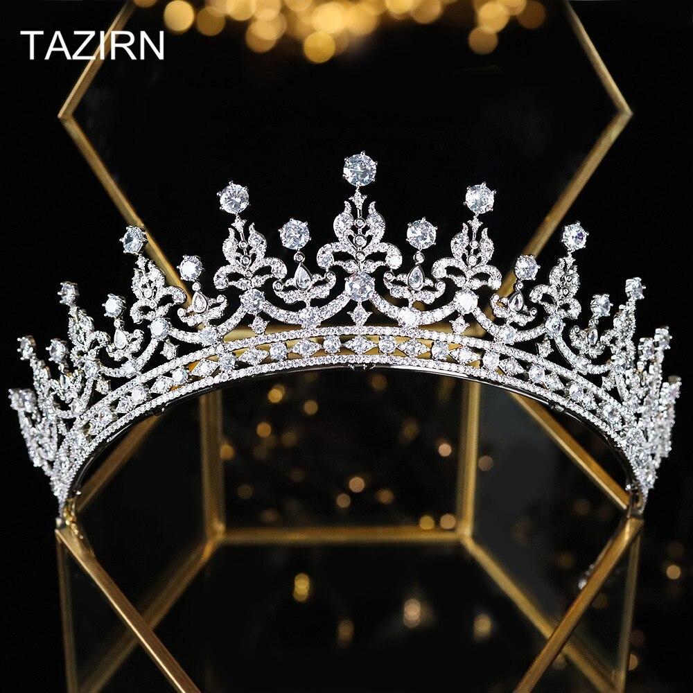 Cubic Zirconia Wedding Bridal Tiaras Zircon British Royal Family Princess Kate Middleton Queen Style Crowns Pageant Headpieces