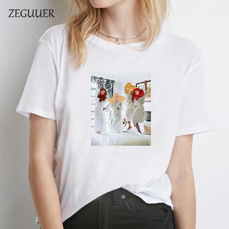 Camiseta de algodón de moda de la calle de la princesa Cenicienta DE LA kawaii Coreano ropa de las mujeres del verano Camiseta de manga corta de Harajuku