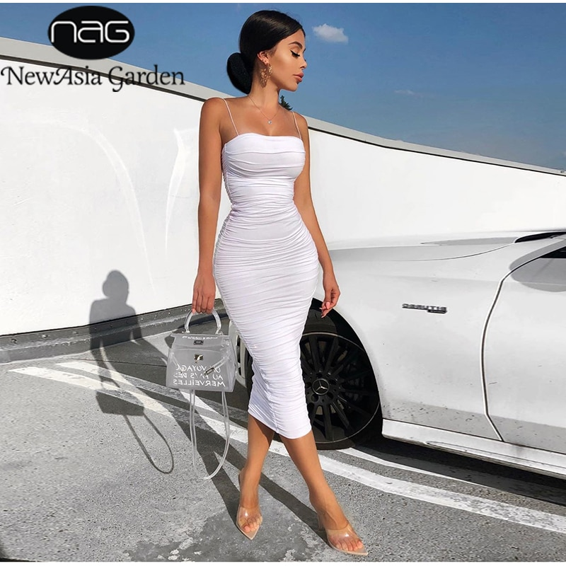 NewAsia 2 طبقات فستان صيفي أبيض المرأة 2020 أنيقة الأشرطة Ruched فستان ماكسي الوردي فستان طويل مثير فساتين الحفلات ليلة رداء