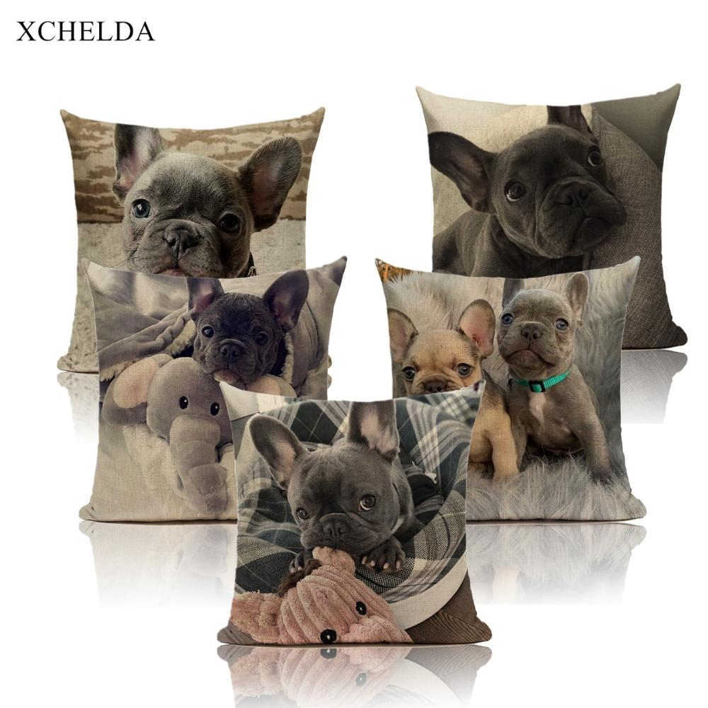 Cushion Cover Linen Canada French Bulldog Print Cute Dog Animals Decorative PillowCase for Home Sofa Car Seat Pillow Case 45*45