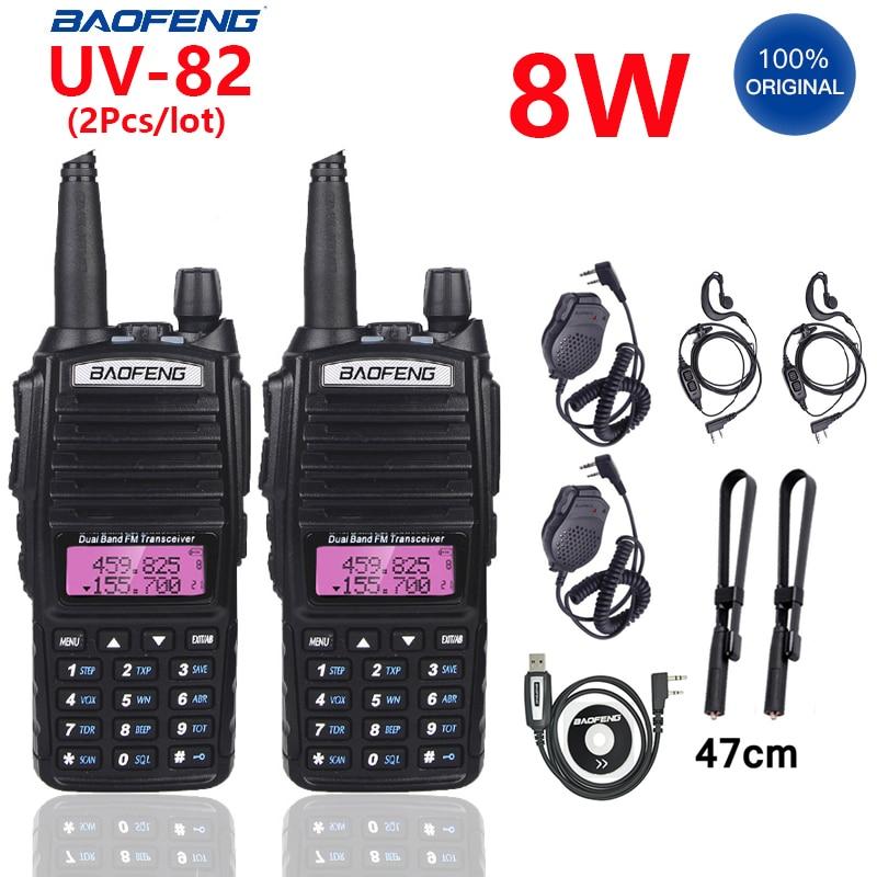 Рация Baofeng UV 82 100%, портативная двухсторонняя радиостанция BF UV82, 2 шт./лот, портативная PTT рация, 8 Вт, UV-82 2021