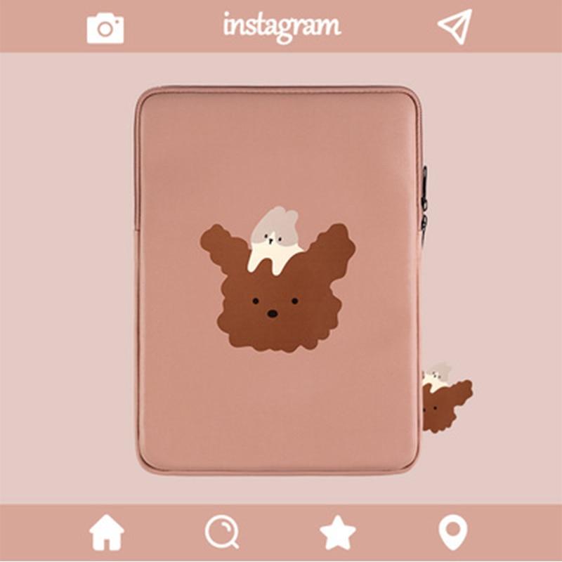 Cute Pu Leather Waterproof Bunny Dog Protective Sleeve Liner Bag Tablet Case Cartoon 9.7 11 12.9 13Inch Bag Laptop Sleeve Bags