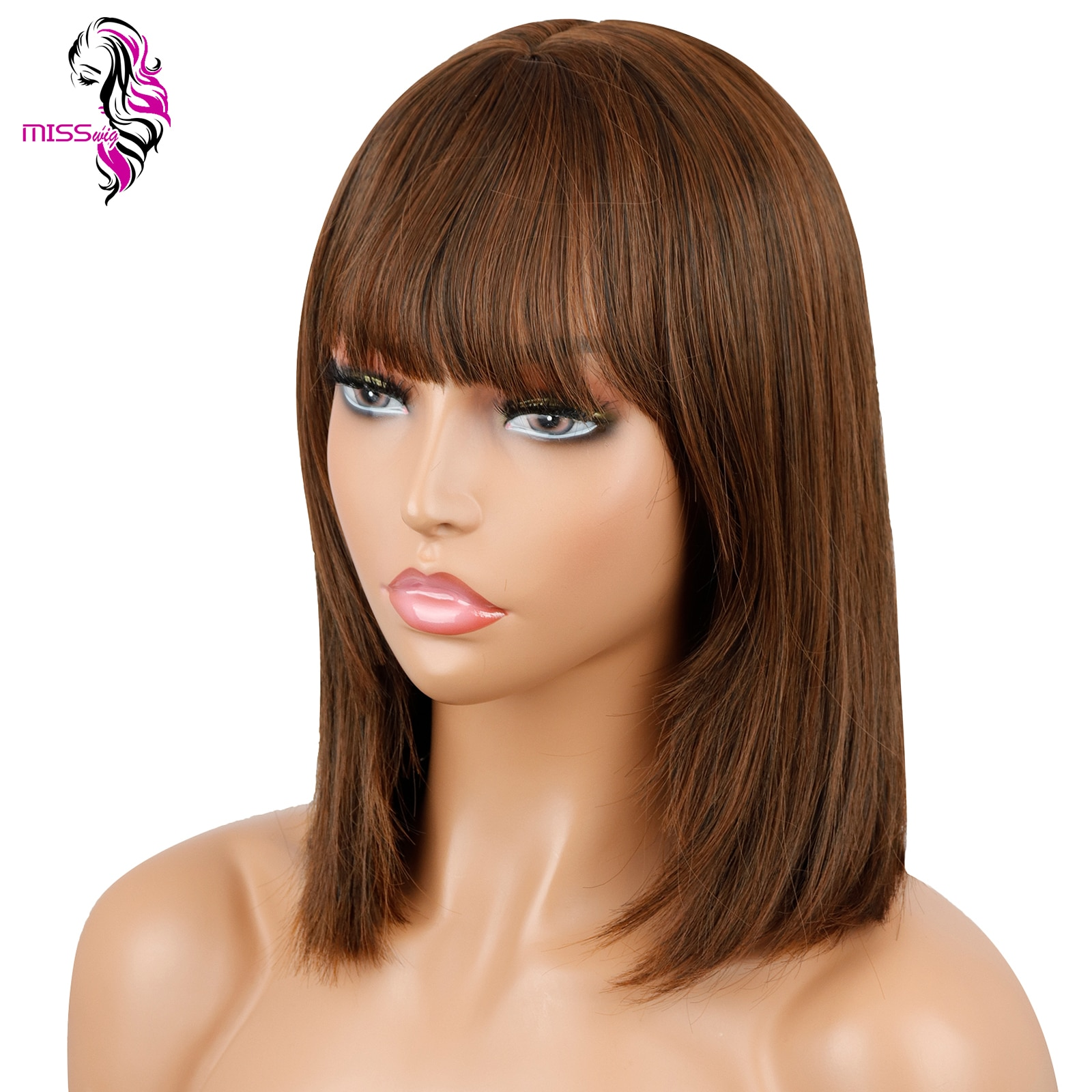 MISS WIG Short Bob Wig With Bangs for Women Synthetic Black Brown Red brown Party/Daily Use Shoulder Length