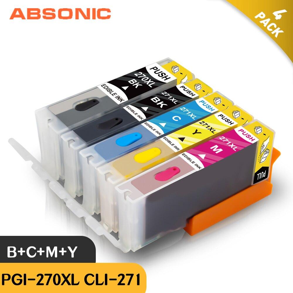 Absonic الصالحة للأكل الحبر خراطيش استبدال ل PGI-270 CLI-271 استخدام ل PIXMA TS5020 TS6020 TS8020 MG6820 MG6821 MG5721 طابعة