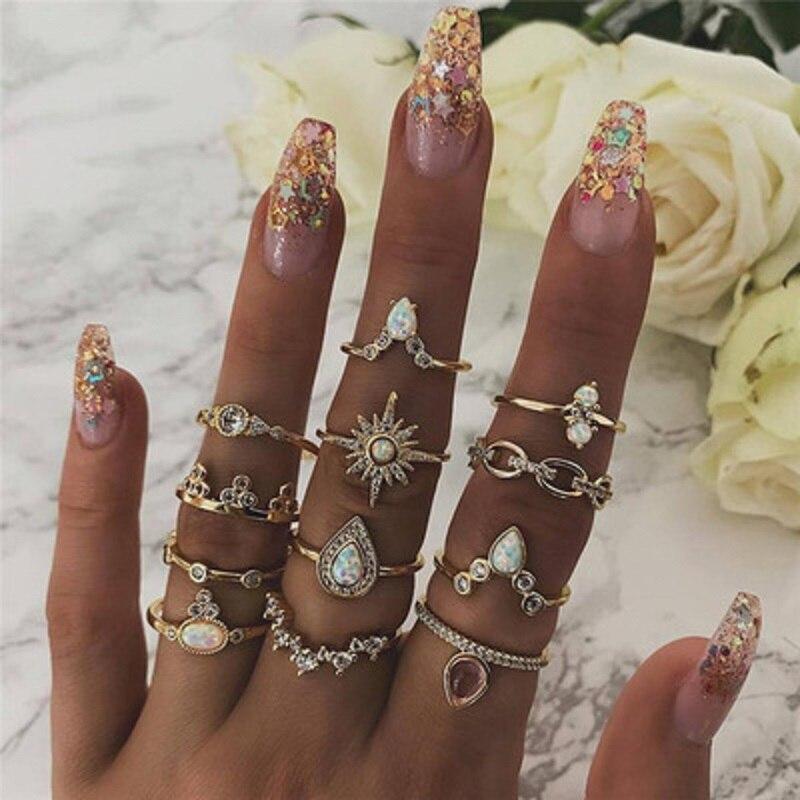 12 Pçs/set Senhoras Estrela Da Moda Geométricas Gotas De Cristal Coroa De Ouro Conjunto Anel de Dedo Charme Partido Jóias Presente de Casamento whlesale