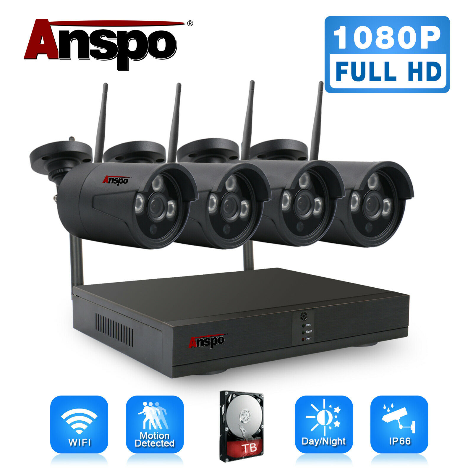 jooan security camera system wireless nvr kit wifi cctv system 4ch 1080p 2 0mp p2p indoor outdoor ip camera surveillance kits Anspo Black Wireless Security Camera System 4CH HD 1080P CCTV WIFI Kit NVR Outdoor With HDD