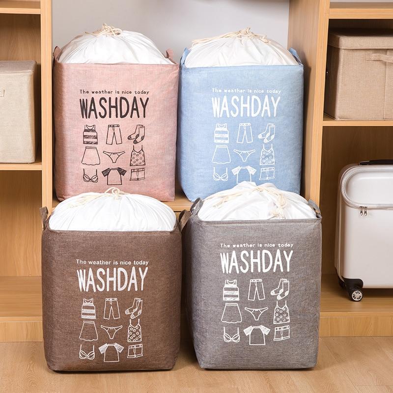 Gran capacidad y Durable lavable algodón Lino colcha residuos ropa clasificación bolsa almacenamiento bolsa extraíble almacenamiento plegable