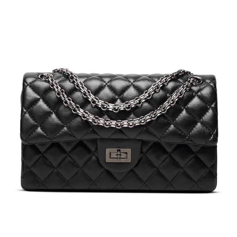 Fashion new handbags High quality leather Women bag Small incense wind chain Lozenge Shoulder bag Lock Stereotypes lattice 2528