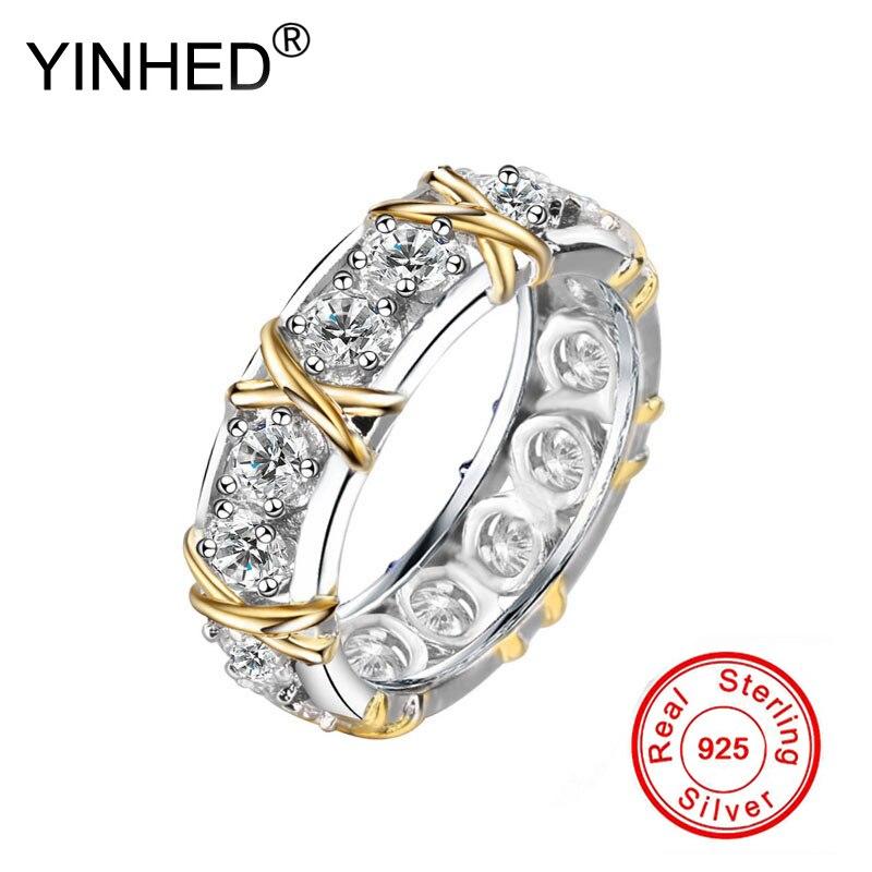 YINHED пара колец для женщин и мужчин золотистого цвета X дизайн кольцо из стерлингового серебра 925 пробы модное ювелирное изделие Подарок на г...