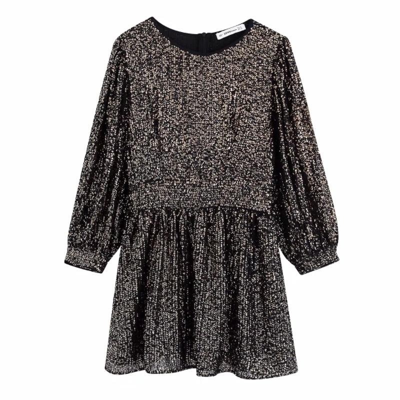 Moda mujer lentejuelas decoración Mini vestido 2020 primavera ocio señora linterna manga vestidos D3806