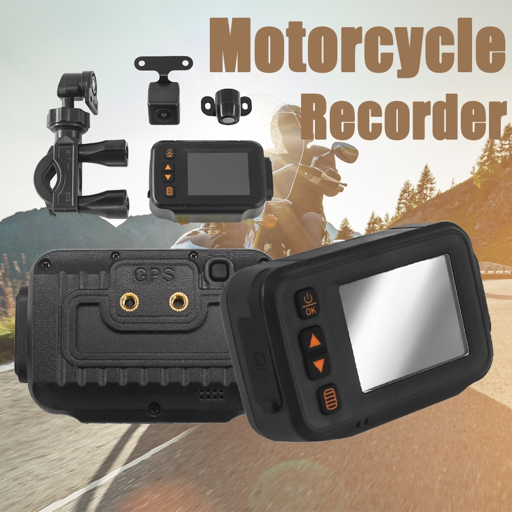 Motorcycle DVR Dash Cam Driving Recorder Camera 32GB Dual Lens 720P+480P HD Front Rear Full Body Waterproof Night Vision DashCam