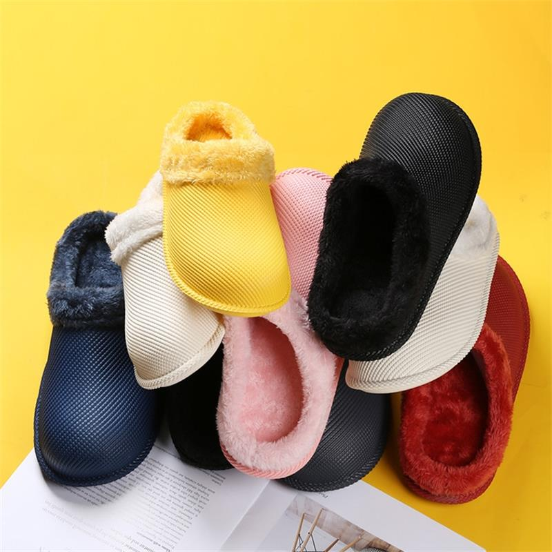 2021 New Autumn And Winter Men's Cotton Slippers Warm Plush Waterproof Non-slip Cotton Slippers Male