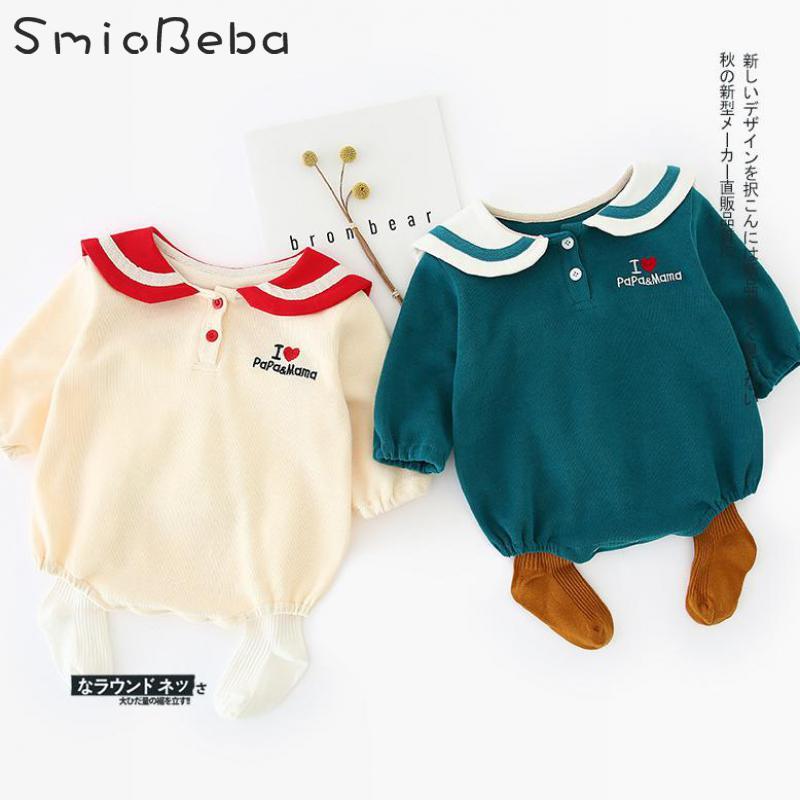Otoño de 2019 Japón niños niñas mamelucos niños nuevo nacido viento azul marino envuelto botón escalada ropa de invierno monos con amor patrón