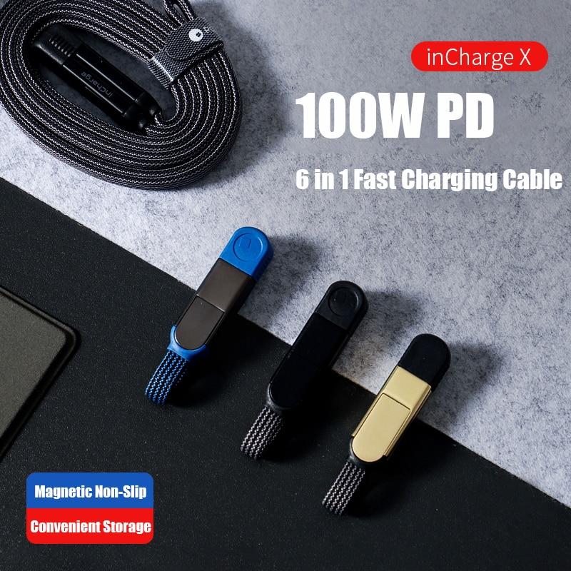 LLavero de carga X, adaptador de Cable 6 en 1, PD, 100W,...