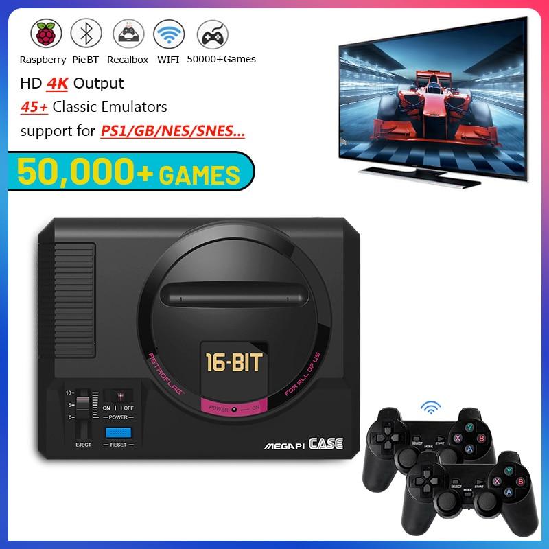 وحدة تحكم ألعاب فيديو WIFI/LAN Retroflag MEGAPI مع وحدات تحكم لاسلكية ، وحدة تحكم Retro 4K HD مع 50000 لعبة لجهاز PS1