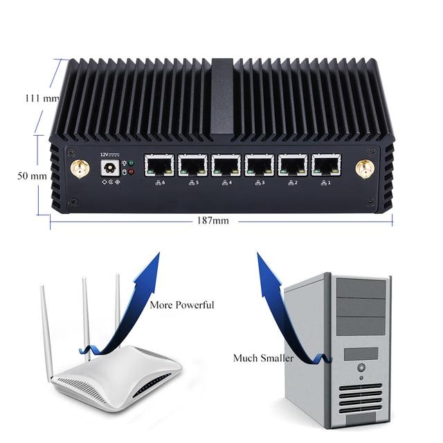 QOTOM Mini PC Core i3 i5 i7 Fanless VPN Computer 6 Gigabit Ethernet AES-NI OPNsense Firewall Ubuntu Sophos Q555G6 Q575G6 10
