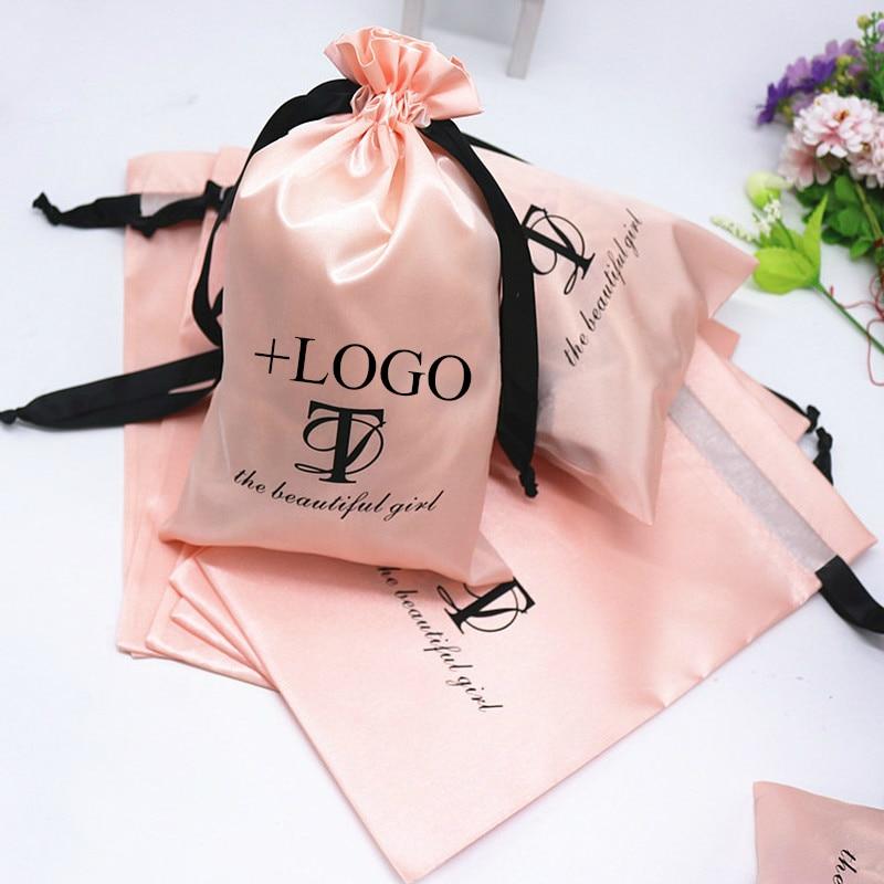 50PCS Baby Pink Satin Pouch Packing Hair Makeup Cosmetic Silk Drawstring Bags Wedding Party Gift Sachet Print Logo Custom Sachet
