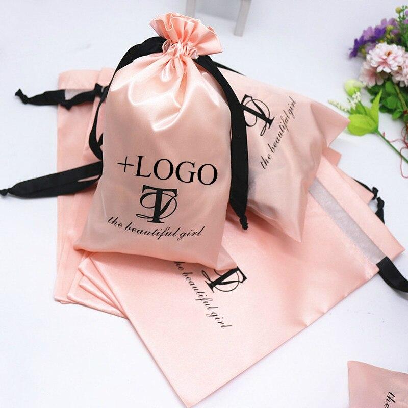 Bolsa De satén rosa para bebé de 50 unidades, bolsa de maquillaje para el cabello, bolsas con cordón de seda para cosméticos, bolsas para regalo de boda, bolsita con logotipo impreso, bolsita personalizada