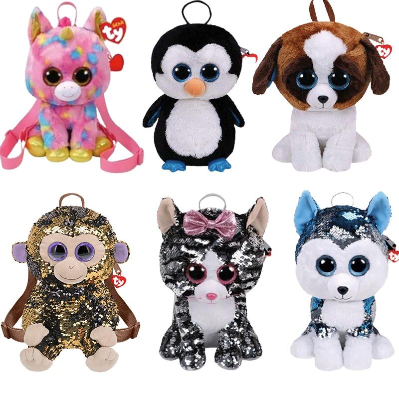 Новый рюкзак Ty с большими глазами переворачивающимися блестками Единорог школьная сумка кукла милые плюшевые игрушки Коллекционирование ...