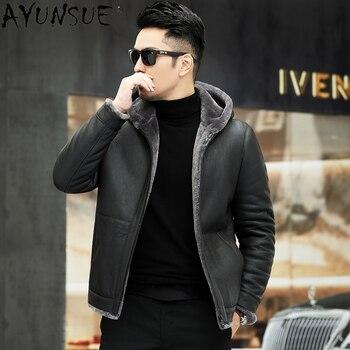 AYUNSUE Natural Fur Jacket Men Winter Warm Hooded Coat 100% Leather Jackets Streetwear Mens Clothes Chaquetas Hombre WPY4381