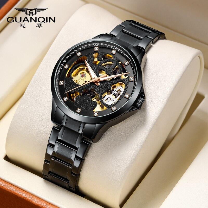 2020 new watch men's luxury brand Guanqin automatic mechanical watch men's hollow watch waterproof all-steel men's watch