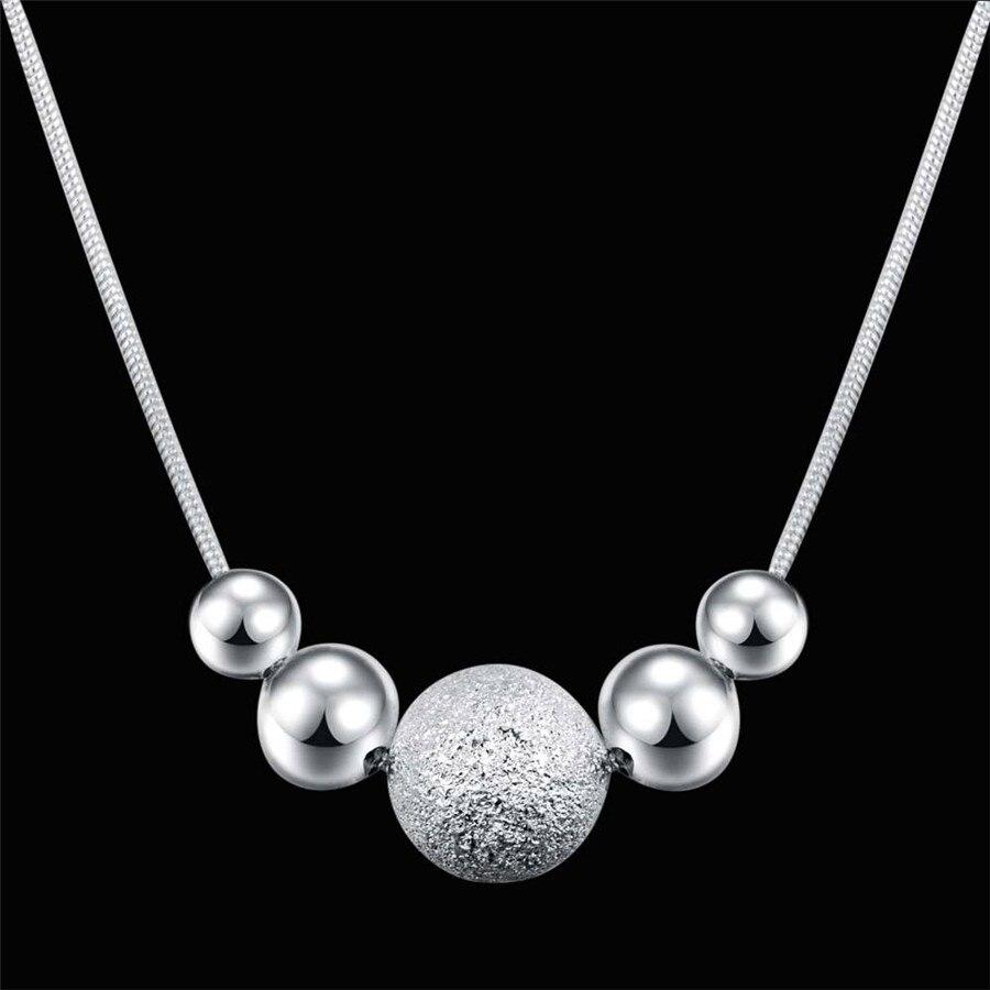 Новая-мода-925-Серебряное-ожерелье-для-женщин-свадебные-ювелирные-украшения-18-дюймов-классический-творческий-Круглый-бисер-кулон-подарок-н