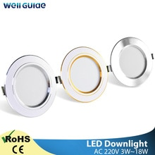 Downlight 3W 5W 9W 12W 15W 18W Spot led downlight argent or blanc Ultra mince AC220V aluminium rond encastré LED Spot
